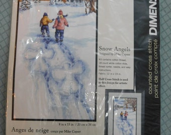 """Dimensions Cross Stitch Kit 13717 Snow Angels 8""""X15"""" Crafting Mike Capser"""