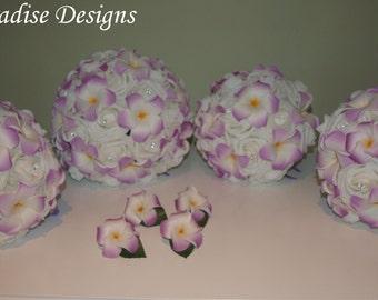 Wedding Bouquet Set -  Foam Roses Frangipani - 1 x Bride 3 x Maids  4 x Button Holes READY TO GO