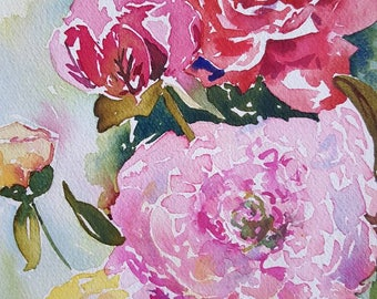Peony Cheer original 8 x 10 watercolor of pink, red and yellow peonies