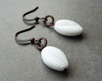 Simplicity Earrings - white leaf, antique copper ring