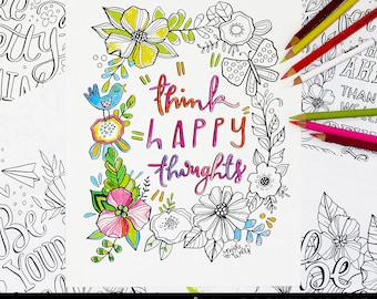 Happy Quotes Coloring Pages - Makewells - Downloadable Printable Coloring