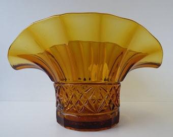 Art deco pressed glass vase - amber - Czechoslovakia - wheat sheaf