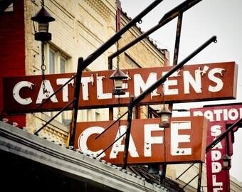 Neon Sign Oklahoma City Stockyards Downtown Retro - Cattlemen's Steakhouse
