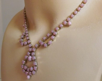 Vintage pink blush moonstone rhinestone festoon necklace wedding bridal jewelry