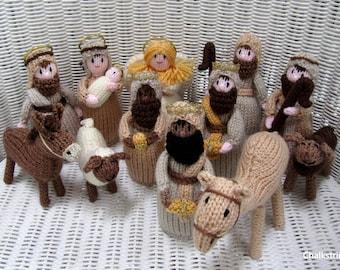 Hand knitted twelve piece nativity set. Christmas scene. Traditional nativity scene.