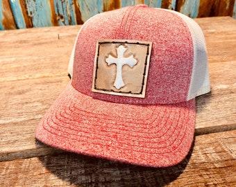 Western cross custom leather hat