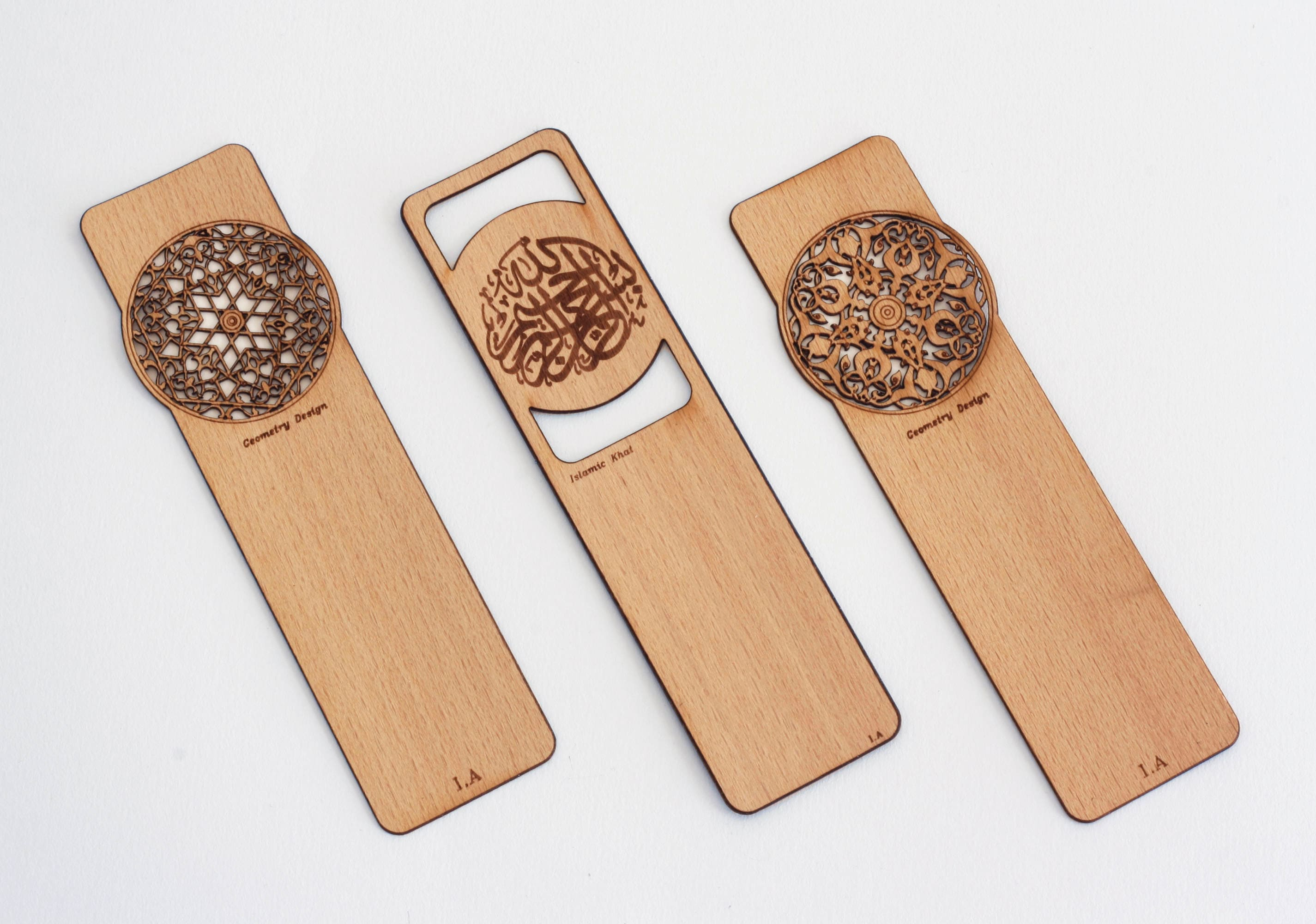 Set of 3 - Luxury Islamic Bookmarks - Real Wood Veneer - Beautifully Crafted Page Markers - High Quality