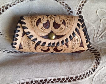 Gusset coin leather purse carved with Sheridan style western pattern laced with whip stitch  inspired by Al Stohlman