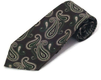 70s Wide Tie Wide Paisley Tie Brown Paisley Tie 1970s Wide Necktie Brown Green White Tie  Mens Neckwear Paisley Necktie Vintage Paisley Tie