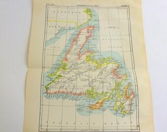 1904 Antique Map New Foundland Encyclopedia Britannica Hammonds Geography  Map Wall Decor Cartology Map Northern Hemisphere  Canadian Map