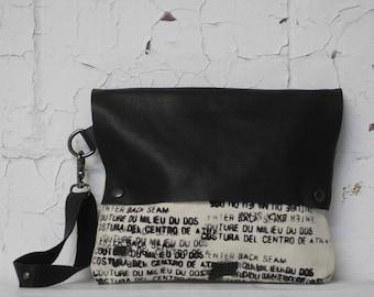 090 Black Leather Canvas Clutch Bag / Wristlet  Handbag /  Printed