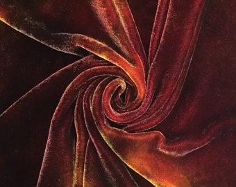 Hand Dyed Silk Velvet, Hand Dyed Devore Silk, No.01 Chocolate