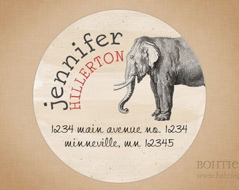 Elephant, Present Circle Personalized Return Address Label