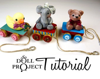 NEW Tiny Animal Pull Toys PDF Tutorial Pulltoys for Your Dolls and BJDs Polymer Clay How to Make