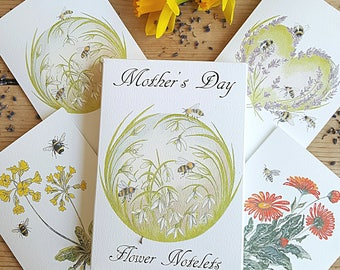 Mother's Day notecards. notecard pack. Two of each flower design. eight card gift pack. Flower notelets. notecards for mothers day .