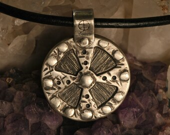 Double sided . Sterling Silver . Medieval Shield . Riveted