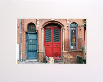 Red Istanbul Door, Photo in 30x23 cm Mat Board, Wall Art, Home Decor, Limited Edition Photography