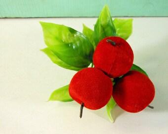 Vintage Red Flocked Apples and Leaves on Floral Trim Wreath Pick