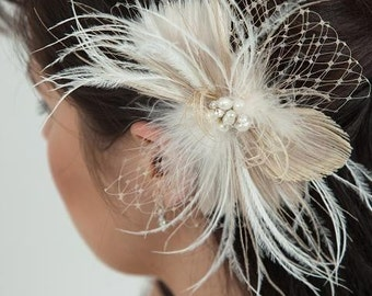 Champagne and Ivory Feather Bleached Peacock Fascinator with Fresh Water Pearl and Rhinestone Center