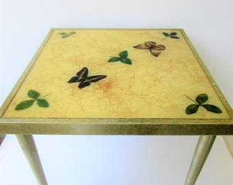 Vintage Metal Side Table - Resin Top - Inset Butterflies and Leaves - Gold Glitter Confetti - Butterscotch Yellow - Gold Distressed Metal