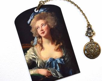 Mini Bookmark with Bronze Pendant - Painting - Élisabeth Vigée-Lebrun - Handmade