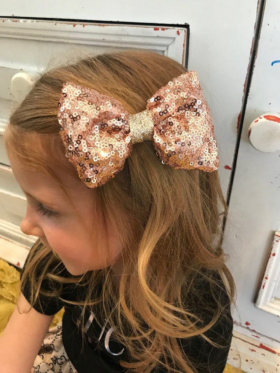 Rose gold bow , rose gold hairbow , sparkle bow