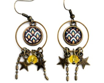 Earrings cabochon boho graphic pineapple with stars and yellow glass bead