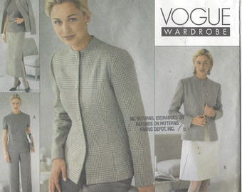 90s Womens Jacket, Dress, Top, Skirt and Pants Vogue Sewing Pattern 2076 Size 12 14 16 Bust 34 36 38  UnCut Vogue Career Wardrobe
