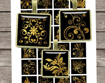 Gold Glitter Swirls 7/8x7/8 inch 1x1 inch 1.5x1.5 inch inch Printable Squares for Pendants Magnets Digital Collage Sheet - Instant Download