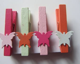 set of 4 pins, butterfly wooden clothespins - 4.7 cm