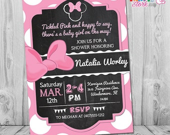 Minnie Mouse Baby Shower Invitation | Printable Minnie Mouse Baby Shower  Invitation For Girl | Pink