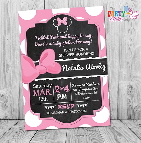 Awesome Minnie Mouse Baby Shower Invitation Printable Minnie Mouse