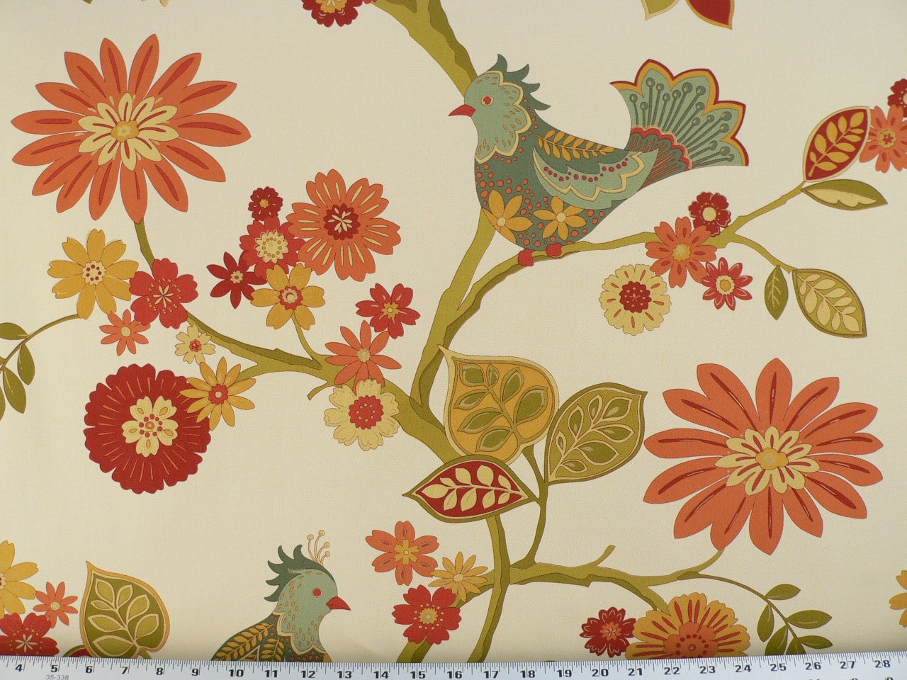 Birds Fabric Coral/Orange/Blue Green/Red Florals
