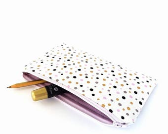 Zipper wallet women, White makeup pouch, Travel wallet, Pencil case, Small wallet purse, Bridesmaid gifts, Gifts for her, Confetti pouch