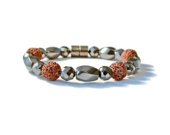 Magnetic Hematite and Natural Lava Stone Aromatherapy Bracelet, Essential Oil Diffuser, Pain Relief