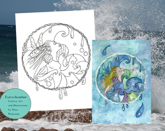 Water Fairy Digital Stamp Instant Download Coloring Page Printable Fantasy Water Fairy LineArt by Niina Niskanen