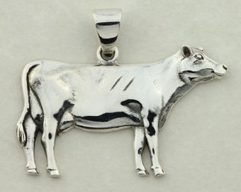 Jewel Cow Pendant Cow Heifer Jewelry Sterling Silver and 18KT Yellow GP
