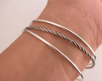 Set of 3 bangle bracelets  - plain and twisted  bangles- 925 solid sterling silver - stacking bangles - handmade  bangles - BB 16009