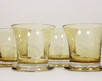 Amber Mid-Century Modern Hand Crafted Disc Base Old Fashion Glasses Set of 4, 1950's vintage