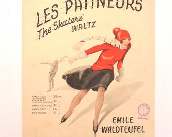 Vintage Sheet Music Les Patineurs The Skaters' Waltz by Emile Waldteufel Sheet Music for Piano Solo