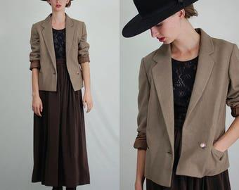 Vintage Wool Blazer / 60s Wool Jacket / Crop Wool Blazer / Preppy Blazer / Vintage 60s Blazer / Wool Suit Jacket / Mod Blazer / Small Medium