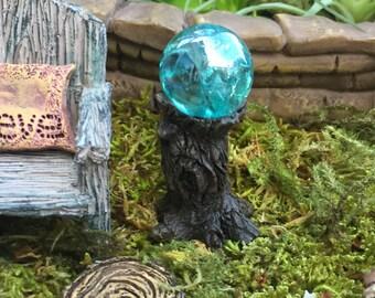 Miniature Blue Garden Glazing Ball on Tree Stump, Fairy Garden Accessory, Garden Decor, Miniature Gardening, Terrarium Accessory