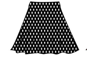 PDF skirt sewing pattern for woman.stretchy skirt 32-40 and step-by-step comprehensive online sewing tutorial(video).half circle skirt.