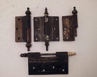 4 Antique Vintage Decorative Hinges & Pieces with Decorative Pins