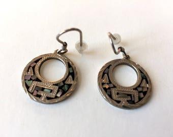 Jahrgang mexikanischen Abalone Inlay Sterling Silber Creolen Ohrringe