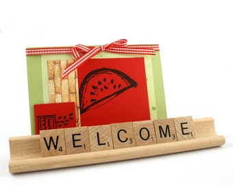 WELCOME Scrabble Letters Sign RECYCLED