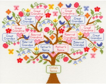Bothy Threads My Family Tree Ancestry Sampler Counted Cross Stitch Kit - 38cm x 30cm