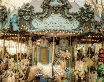 Bryant Park Carrousel photo nyc new york city dreamy horse pastel tones dreamy nostalgic shabby chic nyc48
