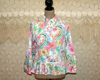 Cotton Blouse Colorful White Print Shirt Peplum Top Medium Button Up Blouse 3/4 Sleeve Spring Summer Size 10 Ralph Lauren Womens Clothing