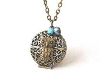 Owl Locket Necklace, Blue Necklace, Filigree Round Locket, Owl Necklace